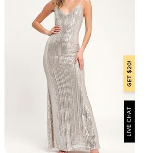 Lulus Moonlight Silver Sequin Maxi Dress
